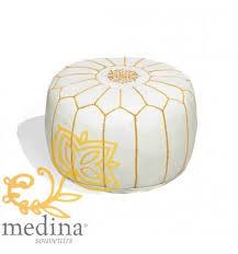 pouf design cuir marocain blanc et or un pouf entièrement en cuir