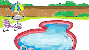 How To Draw A Cartoon Outdoor Swimming Pool Within Fence Free Easy Tutorial For Kids