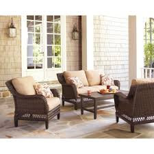 Outdoor Cushions Sunbrella Home Depot by Hampton Bay Woodbury 4 Piece Patio Seating Set With Textured Sand