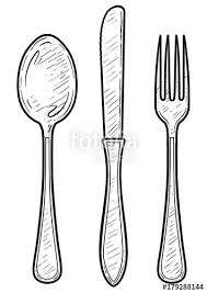 Fork spoon knife illustration drawing engraving ink line art