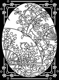 Egg With Flowers Stained Glass Coloring Pages