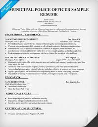 Police Officer Resume Experience Objective Examples Jennifer