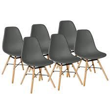 dunkelgrau 6er set skandinavisches retro design modern stühle esszimmerstühle möbel holz stahl kunststoff schale rund für wohnzimmer esszimmer küche