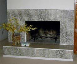 mosaic glass tile fireplace surround us flat work surface is