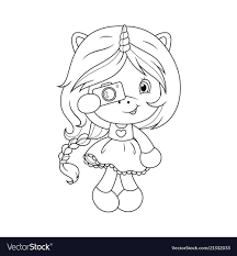 Cute Baby Unicorn With Camera Coloring Page For Vector Image