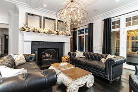 Transitional Living Room Leather Sofa by Minneapolis Black Leather Sofa Living Room Modern With Vaulted