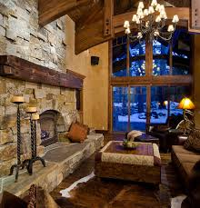 Living RoomCozy Room With Rustic Stone Fireplace Classy Design
