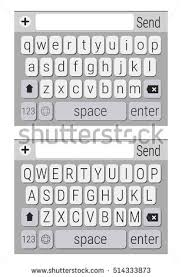 Black and White Smartphone Qwerty keyboard Vector Mockup Mobile phone keypad upper and lowercase letters