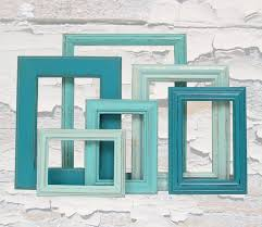 Shabby Chic Frames Picture Frame Set Turquoise Home Decor Beach Wedding 6900