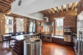 KitchenMagnificent Industrial Style Home Kitchen Decor With Wooden Beam Ceiling And Red Brick Wall