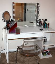 Makeup Desk With Lights by White Diy Vanity Table With Shelf Underneath For Make Up And Glass
