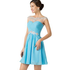 wholesale elegant see through cap sleeve chiffon a line short prom
