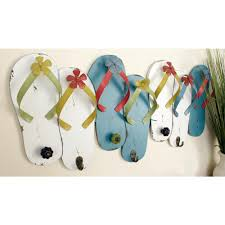 100 Flip Flop Homes Litton Lane 13 In White And Turquoise S Wall Hook Rack
