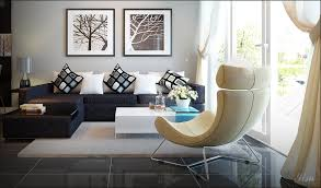 a dark brown couch vs yellowish chair interior design ideas