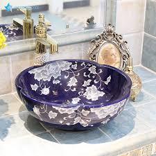 lt 1a8120 jingdezhen china bunte dekorative schale geprägt badezimmer porzellan waschbecken waschbecken buy lavabo fregadero keramik shell
