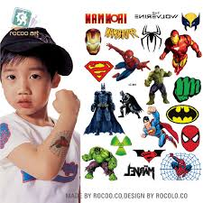 Waterproof Temporary Tattoo Sticker Cartoon Super Men Spiderman Ironman Tatto Stickers Flash Tatoo Fake Tattoos For