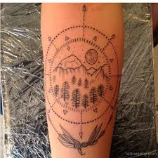 Mountains Forest Compass Tattoo