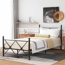 einzelbett metallbett jugendbett schlafzimmerbett bettrahmen bettgestell kinderbett bett gästebett schwarz 90x200cm