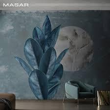masar große anlage blue leaf wandbild wohnzimmer speisesaal flur schlafzimmer hintergrund wand tapete die bild