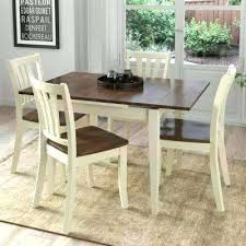 Real Wood Dining Sets Solid Room 5 Piece Extendable Dark Brown And Cream