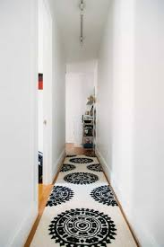 Narrow Hallway With White Walls And Modern Runner Decorating Ideas For