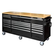 100 Service Truck Tool Drawers Husky 72 In 18Drawer Mobile Workbench With Solid Wood Top Black