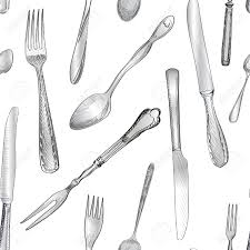 Fork Knife Spoon hand drawing sketch seamless texture Cutlery pattern Stock Vector