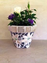 Mosaic Planter Large Stone Flower Pot Rustic Indoor Herb Pots Outdoor Mosaics Kitchen Handmade Garden Container