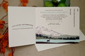 Mt Hood Oregon Mountain Landscape 4pg Unique Rustic Livret Wedding Invitation Booklet Style With Postcard RSVP BP1
