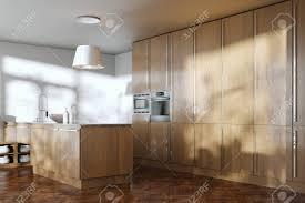 Modern White Kitchen Interior 3d Rendering Stockfoto Und Contemporary Wooden Kitchen Furniture In White Interior 3d Render