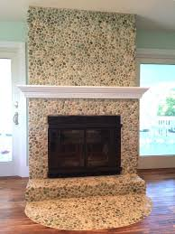sea green pebble tile fireplace surround hearth pebble tile shop