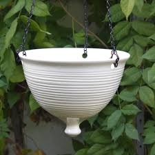 Modern Backyard Decor with Pottery Barn Hanging Ceramic Planter