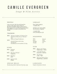 Cream Simple Acting Resume