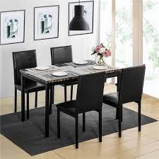 großhandel oris fur dining set küchentisch set esstisch und 4 lederstühle esszimmer möbel schwarz european style greatfurnishing 281 76 auf
