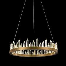 licht trend pendelleuchte crysto ring ø 60cm mit glas kristallen messing kaufen otto