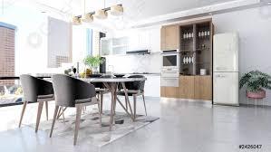 Modern White Kitchen Interior 3d Rendering Stockfoto Und Stock Photo Modern Contemporary Stylish Kitchen Room Interior 3d Rendering