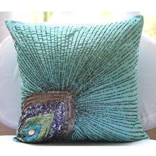 Decorative Couch Pillow Covers by Peacock Grace Aqua Blue Art Silk Floral Pillow Cover With