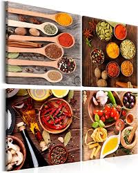 murando bilder küche 40x40 cm vlies leinwandbild 4 teilig kunstdruck modern wandbilder wanddekoration design wand bild gewürze chilli tomaten