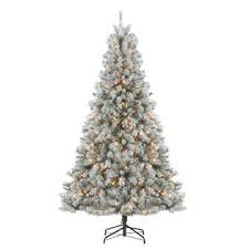 DONNER BLITZEN 75 Alberta Flocked Spruce Pre Lit Christmas Tree With 600 Clear