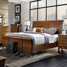 Jeromes Bedroom Sets by Aspenhome Rockland Wood Iron Sleigh Bed In Worn Tobacco By Humble