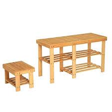 meubels schuhfach badezimmer bank bambus mit ablage natur