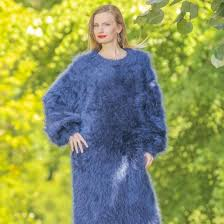 dresses long blue fuzzy mohair sweater dress by supertanya