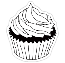 cupcake clipart black and white 647