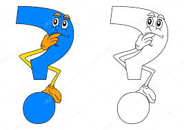 Blue Question Mark Thinking As A Coloring For Little Kids