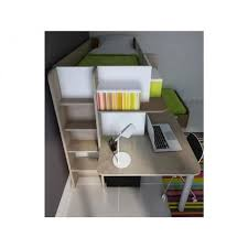 bureau superposé lits superposés samuel 2x90x190cm bureau intégré pin blanc