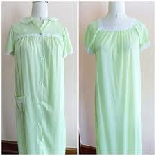 60s nightgown robe set light green lime nancy king lingerie