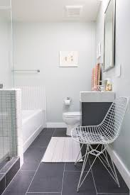looking bamboo bath mat in bathroom contemporary with gray tile
