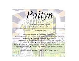 Meaning Of The English Female Name Paityn Is Rustic