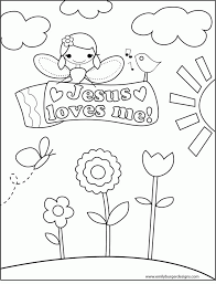 Jesus Loves Me Coloring Sheet Simple Printable Pages