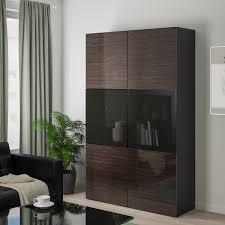 bestå vitrine schwarzbraun selsviken hochglanz rauchglas braun 120x42x193 cm